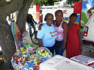 Group smiling at market